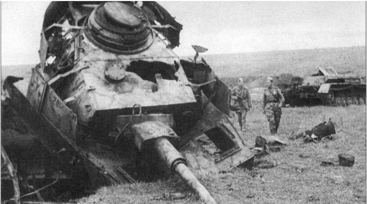 Курская битва. Подбитый Тигр.